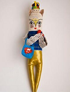Art Doll Fabric, cloth, textile, soft sculpture, The King of Bling