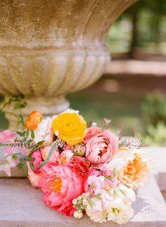 Blush Saffron and Coral Wedding Bouquet