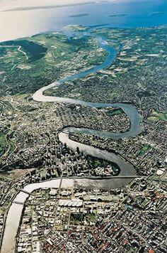 Brisbane River, aerial photo.  The Brisbane River is the longest river in south east Queensland, Australia.