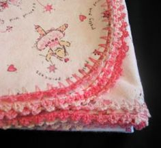 SewChic: Crocheted-Edge Blanket Tutorial including how to cut curved edges easily.