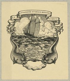 Bookplate of Rosamond Sturgis Brooks, designed by artist Dorothy Sturgis Harding (1920), lithograph (via Library of Congress, Prints and Photographs Division)