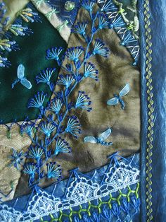 I ❤ crazy quilting . . . Detail. The butterflies are made with organza ribbon. @Af's 2/2/13