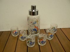 Rare vintage set art glass shaker with glasses hand painted.