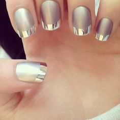 Talk about metallic nails. This futuristic French tipped nails looks awesome is it uses a matte silver coat as based and tipped with shiny and metallic silver polish. A total eye catcher and trendy nail art design.