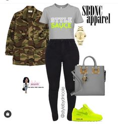 Nike Outfits, Neon Yellow, Camo, Tees, Olive Green, Instagram, Style, Fashion, Camouflage