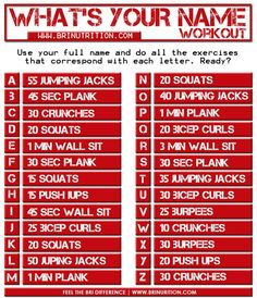 Makes me wish I had a much shorter name! Crunches, Squats, Health And Wellness, Health Fitness, Short Names, Wall Sits, Body Challenge, What Is Your Name, D 20