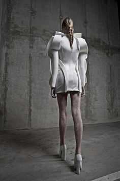 Sculptural Fashion - short white dress with soft folded construction, curved shapes & 3D silhouette // Anja Dragan