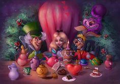 Sandra Winther - Disney Alice in Wonderland Alice In Wonderland Poster, Alice In Wonderland Tea Party, Goblin King Labyrinth, Alice Tea Party, Princess Alice, Time Painting, Disney Wallpaper, Disney Art, Walt Disney