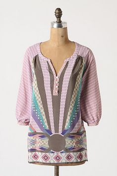 Pattern Call Blouse by Lousada Heyhoe. 2012. With polka dots and teardrops, houndstooth and gingham, Lousada Heyhoe's silk peasant is printed to the max.