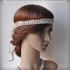 Pearls Halo Headband Tiara Handwoven Freshwater pearls by TianaCHE, $140.00
