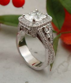 extremely engraved woman silver hoop-big square diamond  #silver #diamond #ring