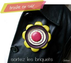 Leather Flower Brooch at Happiness by Gedane (In French)