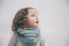 Chunky Crochet Cowl for Kids in Ice Mint Icelandic Wool