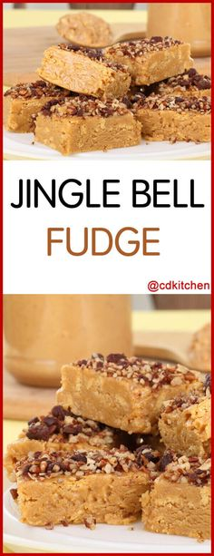 Jingle Bell Fudge - This fudge is all the rage at the holidays. Sweet butterscotch and rich peanut butter mixed together and topped with chopped walnuts make a perfect treat for Santa. Made with butterscotch chips, peanut butter, sweetened condensed milk, walnuts | CDKitchen.com