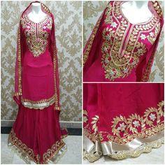 Rajasthani Gota Patti work Suits: Beautiful georgette garara suits with stitched Gar...