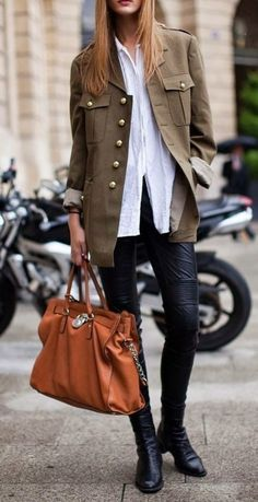 How to Wear a Military Jacket looks & outfits) Michael Kors Outlet, Handbags Michael Kors, Mk Handbags, Cheap Handbags, Cheap Bags, Buy Cheap, Mode Outfits, Casual Outfits, Casual Pants