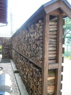 How to make a cupboard made with DIY (placement self-made drawing single pipe photo kit making makin Outdoor Firewood Rack, Firewood Shed, Firewood Storage, Diy Roofing, Wood Storage Sheds, Wood Store, Into The Woods, Backyard Landscaping, Outdoor Living