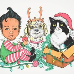 Christmas is around the corner... That's why I made this card inspired by my nephew and our pets to wish you a Merry Christmas ��    #christmas #cards #customportrait #customcard #babyportrait #xmasgift #doodle #cartoons #kids #pets #cat #dog #filltheworldwithart #feliznavidad #firstchristmas #babydoodle #naif #illustration #art #ilustracion #leticiapowers #rotuladores #ink #markers #drawing #artoftheday #colors #ilovedogs #animallover #mississauga