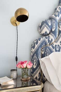 Ikat Pattern - Upholstered Headboard - End Table - Brass Lighting - Wall Sconce - Bedroom Design