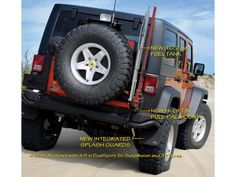 This rear bumper from AEV, holds 5gal of potable water, a high-lift jack, shovel, reverse light, 5gal fuel caddy, CB/HAM radio antenna, and a spare tire. Best of all, it opens with the tailgate, so you don't have to open the carrier first.