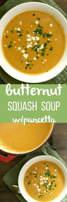 Butternut Squash Soup with Pancetta! A nice twist on a fall favorite with coconut milk! via @DashOfEvans