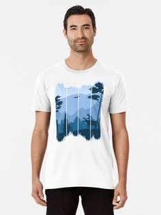 """Beautiful illustration of wild/wilderness life. Deer surrounded by forest and mountains. """"Deer in the Wild"""" T-shirt Wilderness, Chiffon Tops, Deer, Mountains, Illustration, Mens Tops, T Shirt, Life, Beautiful"""