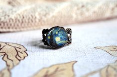 Van Gogh The Starry night adjustable ring, antique silver or antique bronze. Choose your finish