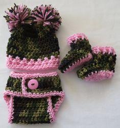 Crochet Camo Hat-Diaper Cover-Booties * PhoTo ProPs * Choice of PINK * BLUE * ORANGE trim