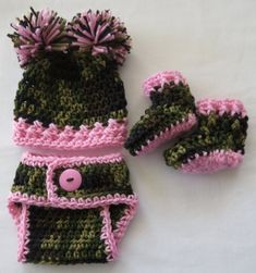 Crochet Camo Hat-Diaper Cover-Booties * PhoTo ProPs * Choice of PINK * BLUE…