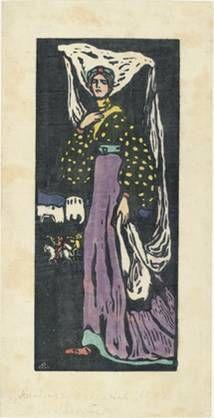 Kandinsky, La Nuit, grande version, 1903, gravure sur bois en couleurs, 29,8 x 12,9 cm, New York, MOMA.