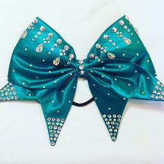 Dark Teal Hand Sewn Cheer Bow with AB crystals and Jewels by aboutthebow on Etsy