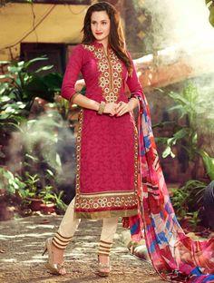USD 25.34 Pink Cotton Churidar Suit 54564
