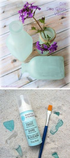 Faux sea glass DIY project, using Martha Stewart glass paint.  Love this paint!