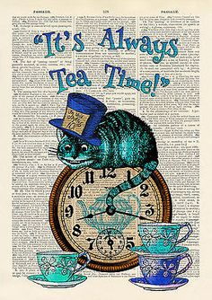 Set of 4 Alice in Wonderland Antique Book page Art Prints A4-Nursery Set1 Turq