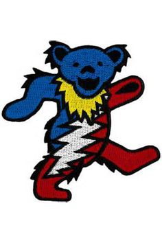 Groove with a Grateful Dead dancing bear patch you'll want to wear everywhere! With the Steal Your Face lightening bolt and colors. inches x 3 inches embroidered patch. Art by GDP Inc. Grateful Dead Tattoo, Grateful Dead Dancing Bears, Grateful Dead Merchandise, Hippie Art, Fabric Painting, Iron On Patches, Rock Art, Tigger, Dance