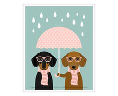 57F Dog Art Prints  Two Dachshund Dogs with Pink by leearthaus