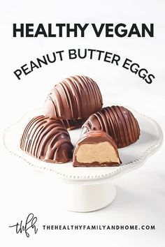 "{ The Healthy Family and Home } This homemade Gluten-Free Vegan Healthy ""Reese's Peanut Butter Eggs"" recipe is so easy to make with only 5 clean, real food ingredients and without powdered sugar! Reeses Peanut Butter Eggs Recipe, Peanut Butter Desserts, Healthy Peanut Butter, Healthy Baking, Healthy Food, Vegan Food, Healthy Bars, Vegan Raw, Vegan Butter"