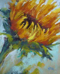 SUNFLOWER floral Original Pastel Painting 8x10 Karen Margulis