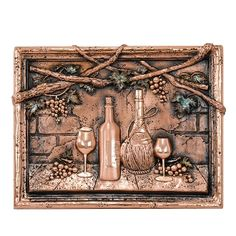 Show off your love of the vine with the Good Directions Wine Tasting Copper Mural/Backsplash . This tri-dimensional Tuscan mural features a wine themed,. Decorative Tile Backsplash, Backsplash Ideas, Kitchen Backsplash, Kitchen Cabinets, Vines, Tuscan Style Homes, Tuscan Design, Mediterranean Home Decor, Iron Decor