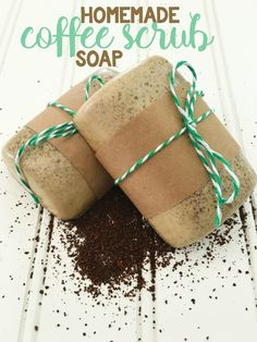 Make your own coffee scrub soap with this simple DIY! Homemade coffee soap is the perfect idea for a holiday gift or for your coffee-obsessed besties! #ChristmasDIYgifts