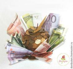 Купить Денежное яблоко из монет и купюр - подарок, оригинальный подарок, необычный подарок, денежный талисман