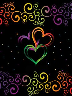 Colorful Heart on Black Background F Neon Wallpaper, Butterfly Wallpaper, Heart Wallpaper, Cute Wallpaper Backgrounds, Cellphone Wallpaper, Cute Wallpapers, Black Backgrounds, Heart Background, Background Pictures