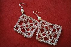 Granny Square Earrings pattern by Crochet Kitten - These are done with wire but yarn would look great too!