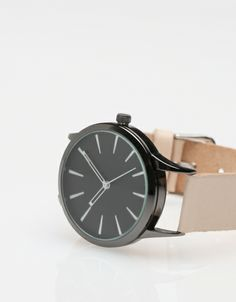 Colorblock Leather Watch In Natural