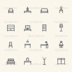 Home Furniture Icons Set. Line icon — Stock Vector © Kittichai #43620847