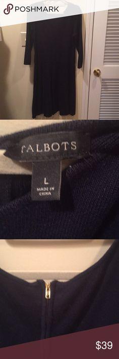Talbots Navy blue dress Three-quarter links leaves with back zipper around neck and swing skirt Talbots Dresses