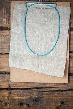 Turquoise Aqua Glass bead Necklace