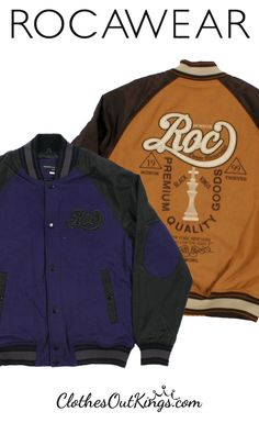Rocawear Men's Varsity Jackets with Embroidered Detailing. Get rid of that old hoodie. Step out in a jacket that will do more than just keep you warm.
