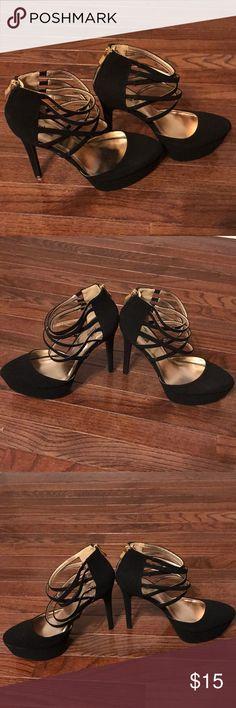 Black Cross Cross Stilettos - Size 9 Black Charlotte Russe stilettos with a cross cross pattern over the ankle. Size 9! Worn twice Charlotte Russe Shoes Heels