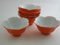 Vintage Rice Soup Bowls  Orange Lotus design made in Japan set of 6.  Perfect for ice cream or cereal...